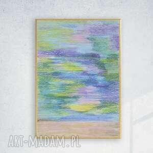 abstrakcyjny rysunek w ramce, oprawiony szkic pastelowy, nowoczesny obraz a4