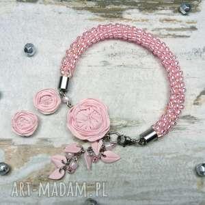 Komplet biżuterii z kwiatami piwonii w odcieniu pudrowego różu , piwonie, kwiaty