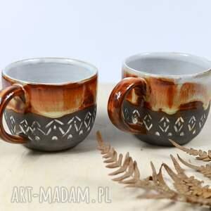 hand made ceramika 2 kubki ceramiczne - zestaw kawowy slavic 330