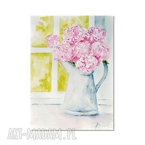 kwiaty przy oknie, akwarela, kwiaty, bukiet, obraz
