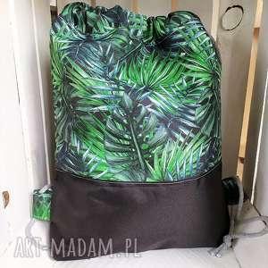 worek plecak zielone liście, worek, plecak, spacery, wycieczki, zakupy