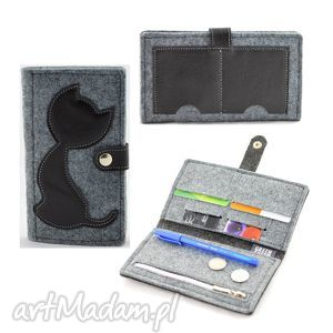portfele portfel filcowy ze skórzanym kotem - midi - czarny, portfel, portmonetka