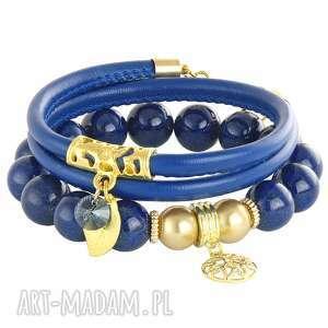 sada 2 - navy blue ,listek,swarovski,jadeit,