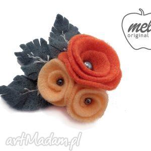 broszka filcowa qualio - kwiaty pomarańcz - broszka, filcowa, kwiaty, liście