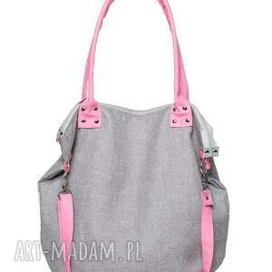 na ramię worek grey piggy pink, pojemna, nowoczesna, weekendowa, ręcznie, róż