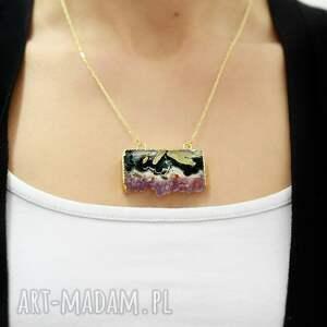 naszyjniki 925 pozłacany 18k srebrny łańcuszek ametyst, zawieszka, kamień