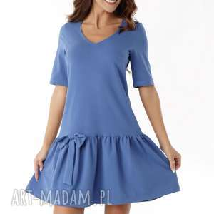 sukienka z falbaną i kokardą niebieska 005, falbaną, dzianinowa