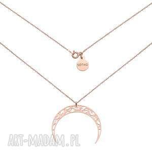 naszyjnik z różowego złota księżycem, naszyjnik, różowy, księżyc, noc