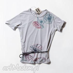 FLOWERS koszulka szara oversize, tunika, koszulka, tshirt, nadruk, flower