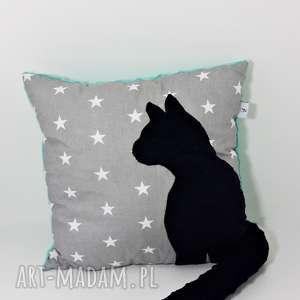 poduszki poduszka z kotem i ogonem 3d czarny kot w gwiazdach, poduszka-z-kotem