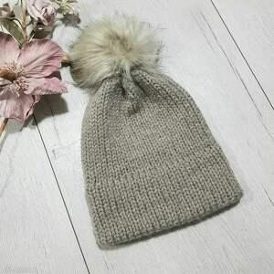 Gruba ciepła czapka z podwójnym rondem czapki albadesign zimowa