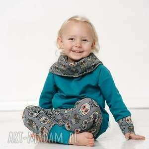 bluza dla dziecka z komino-kapturem czachy etno szmaragd, kominem