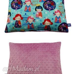 handmade pokoik dziecka poduszka, wzór kokeshi, pudrowy róż