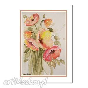 obrazy maki, akwarela, kwiaty, obrazy, ręcznie, malowane, świąteczny