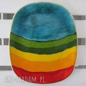 talerz jak tęcza - ,ceramiczna,patera,kolorowa,kolorowy,talerz,ceramiczny,