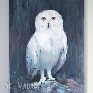 obraz - biała sowa akryl na płótnie, obraz, akrylowy, ręcznie malowany