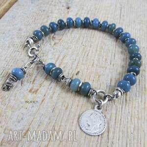 opal naturalny z monetą - bransoletka 414, opal, srebro oksydowane, moneta
