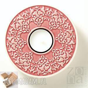 Prezent lampion ROŚLINNY różowy opakowanie prezentowe, lampion, ceramiczny, świecznik