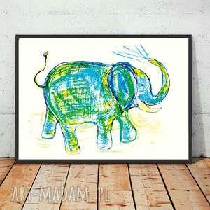 obrazek ze słoniem, słoń plakat, plakat ze słoniem, słoń