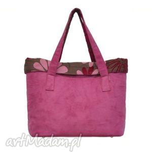 15-0003 Różowa torba damska do ręki shopper bag - na co dzień WOODPECKER, markowe