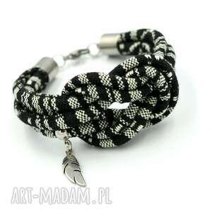 bransoletka boho masayal knot with feather, boho, etniczna