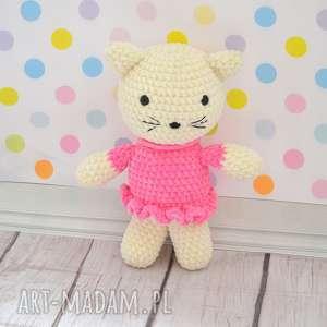 Prezent Pani Kotek w różowej sukience, personalizacja, imię, prezent, milusi