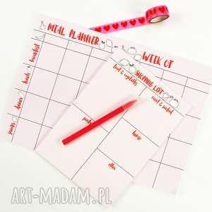 kapotka zestaw planerów, menu na tydzień i lista zakupów,, notes, notesy, planer