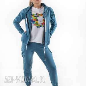 Komplet dresowy niebieski total slack sportowe trzyforu dres