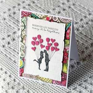 handmade scrapbooking kartki zakochana para i baloniki