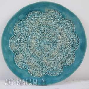 turkusowa koronkowa patera, talerz-ceramiczny, koronkowa-ceramika, koronkowy-talerz