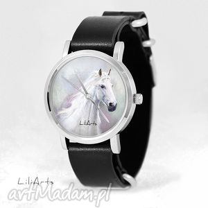 zegarek, bransoletka - biały koń czarny, skórzany, nato, nato