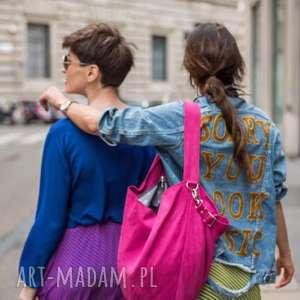 handmade na ramię duża różowa torba worek fuksja hobo