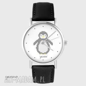 hand-made zegarki zegarek - pingwin, dziergany skórzany, czarny