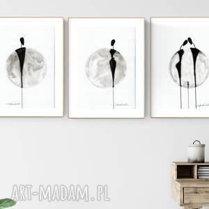 Zestaw 3 grafik a4 wykonanych ręcznie, abstrakcja, elegancki