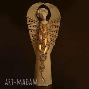 Ażurowy Anioł Miran na tea-lighty, anioł, lampa, świecznik, ceramiczny