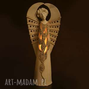 handmade ceramika ażurowy anioł miran na tea-lighty