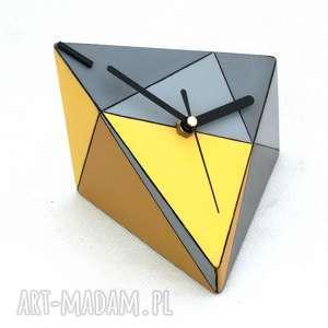 zegary zegar drewniany geometric spicy, drewno, biurkowy