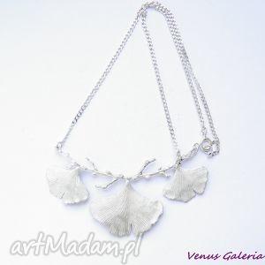 ręcznie zrobione naszyjniki srebrny naszyjnik - miłorzębowy biały