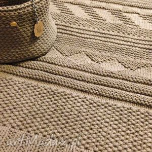Beżowy dywan ze sznurka bawełnianego gotowy na już wool and dog