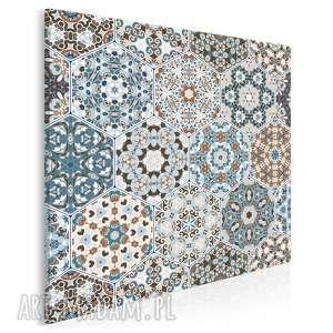 obraz na płótnie - heksagony marokański wzór w kwadracie 80x80 cm 55402