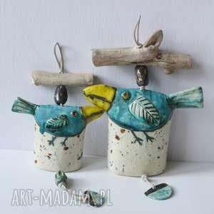 hand-made ceramika zestaw 2 dzwonków z niebieskimi ptakami
