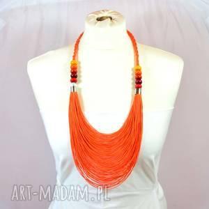 Pomarańczowy warstwowy naszyjnik lniany naszyjniki pmpb style