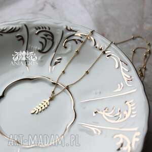 wisiorek floral mini, wisiorek, zawieszka, liść, roślina, eco, aniagrys, prezent