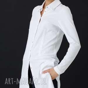 biała koszula piaza bez kieszeni, koszula, wiskoza, kołnierzyk, elastan