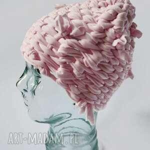 czapki czapka tkana nude, pudrowy róż, tkana, pastelowy