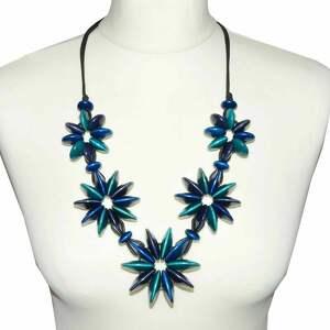 błękitny naszyjnik, niebieskie korale drewniane - błękitne korale