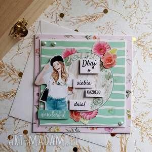 Kobieca kartka dbaj o siebie scrapbooking kartki maly koziolek