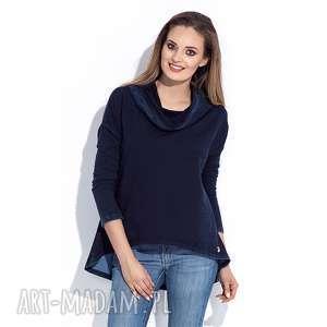 bluzy bluza damska granatowa z kapturem s, kapturem, damska, asymetryczna