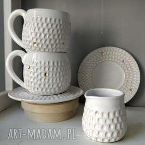 ceramika zestaw dwóch filiżanek i dzbanuszka 3, prezent, użytkowa
