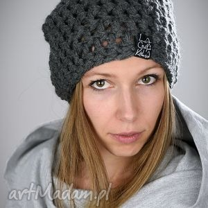 czapki czapka mono 07 - ciemna szara, czapka, wełna, włóczka, szydełko, czapa